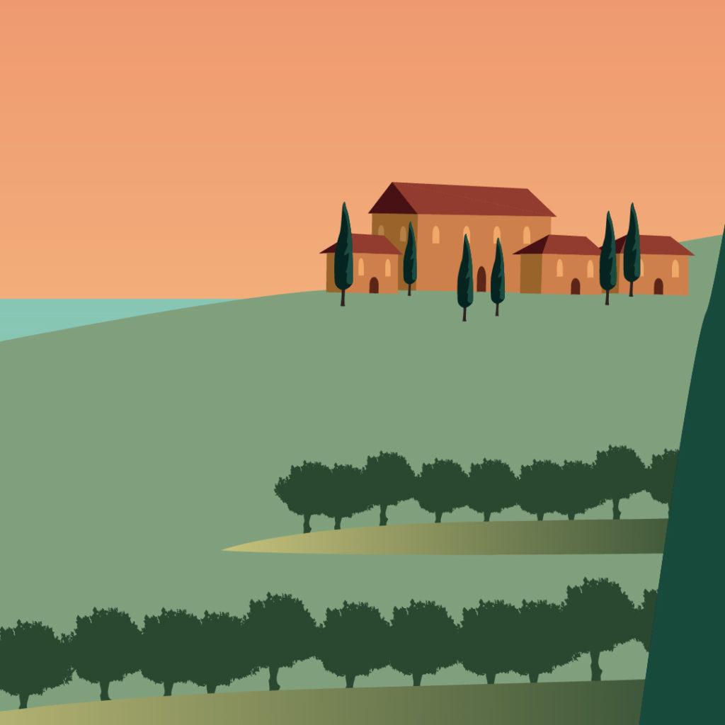 vignoble dans le sud de la france, la crau, var